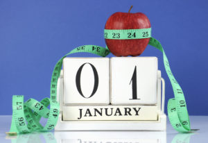 Happy New Year healthy slimming weight loss concept